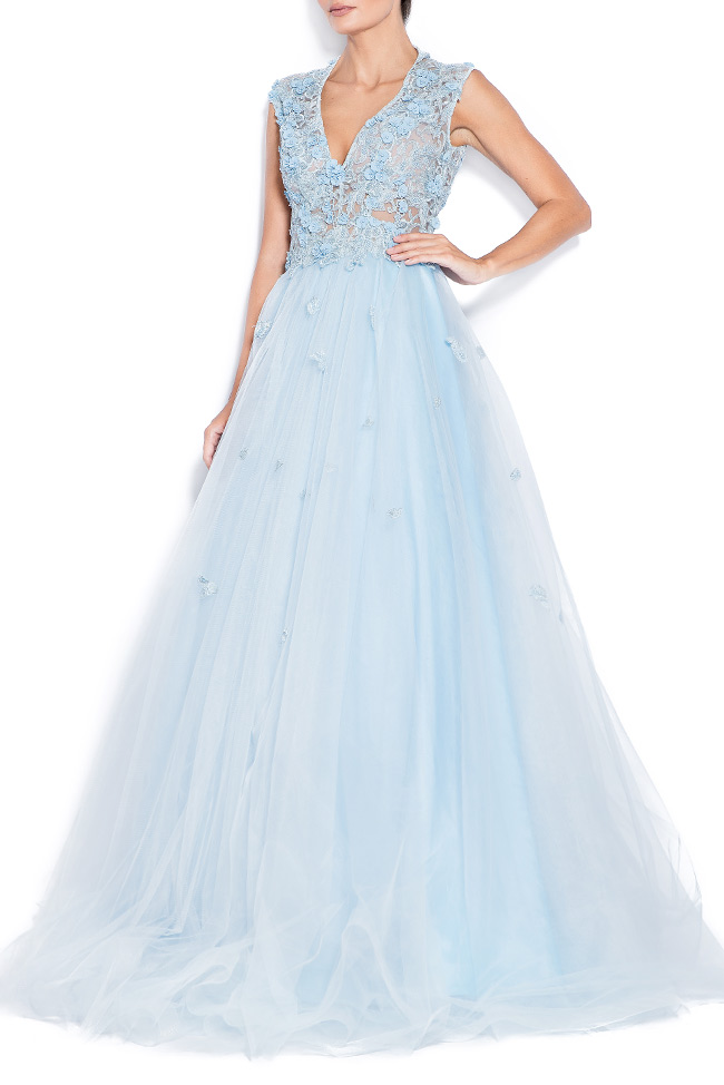 Sky embroidered silk tulle gown Bien Savvy image 1
