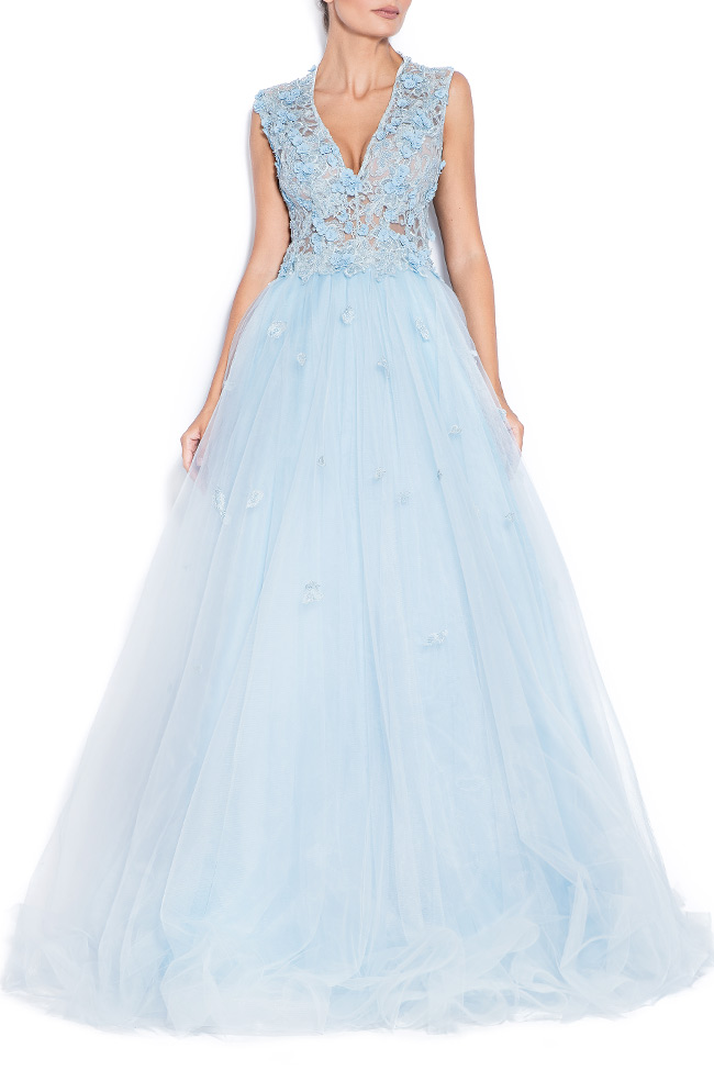 Sky embroidered silk tulle gown Bien Savvy image 0