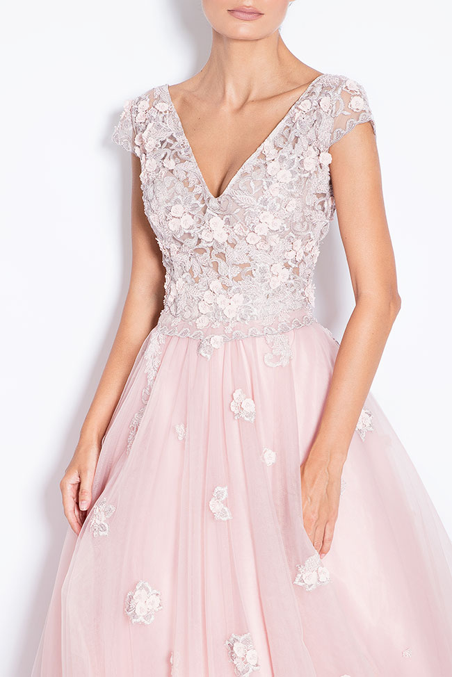 Sea embroidered silk tulle gown Bien Savvy image 3