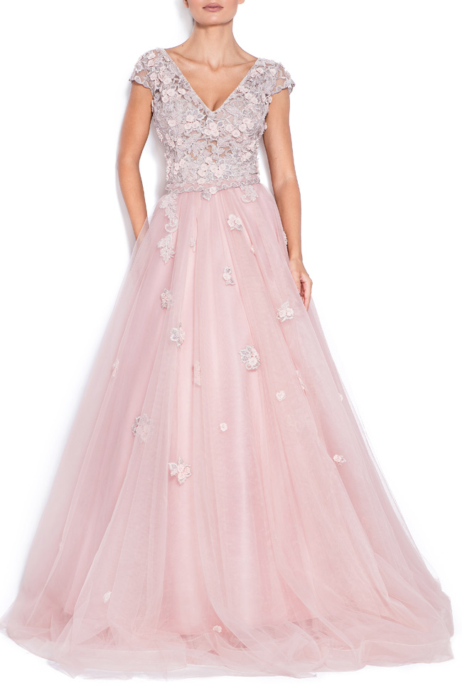 Sea embroidered silk tulle gown Bien Savvy image 0