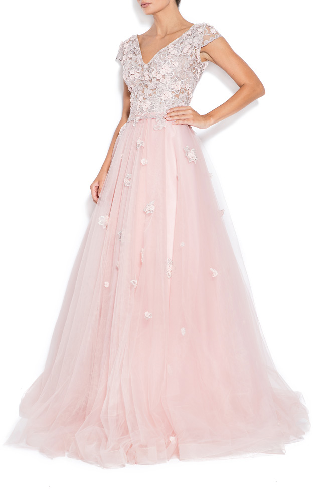 Sea embroidered silk tulle gown Bien Savvy image 1