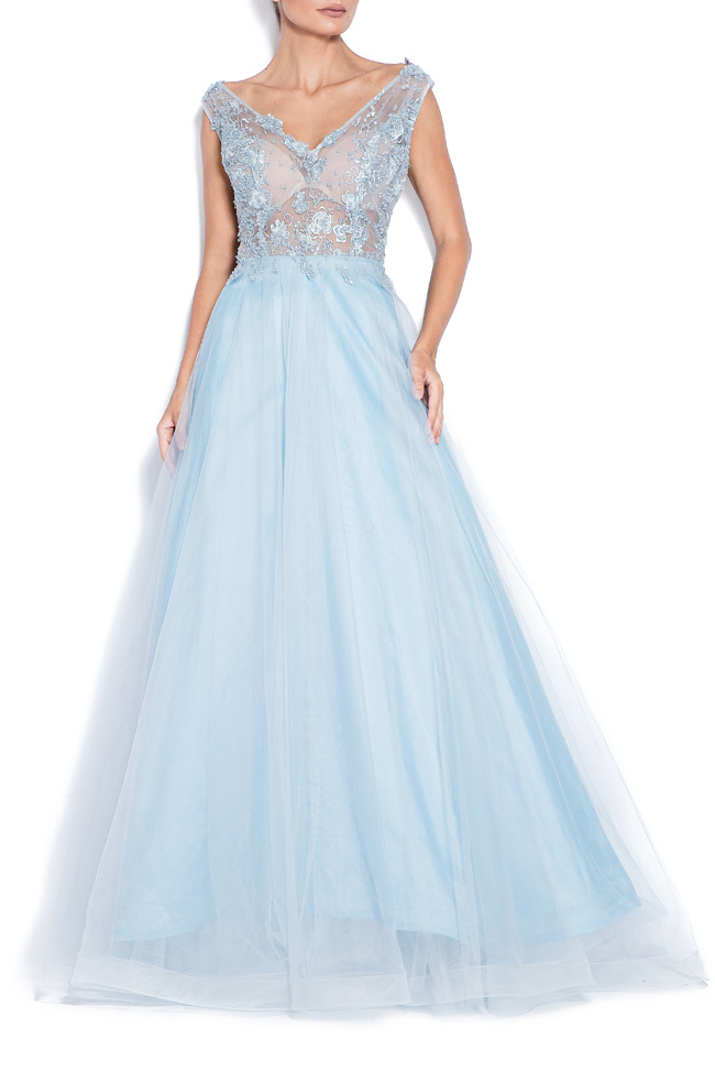 Open-back embroidered silk tulle gown Bien Savvy image 0