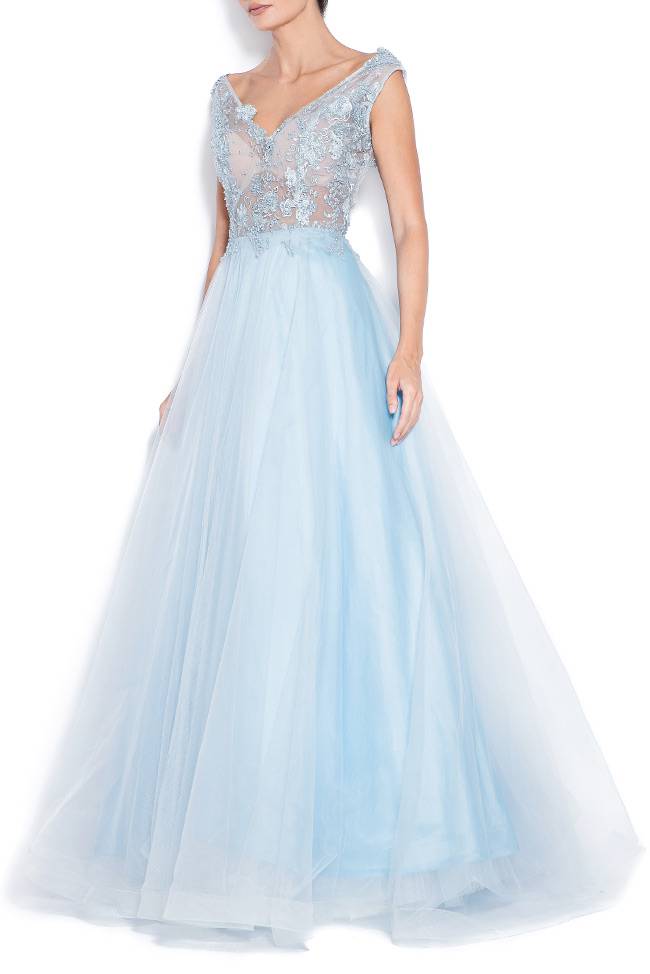 Open-back embroidered silk tulle gown Bien Savvy image 1