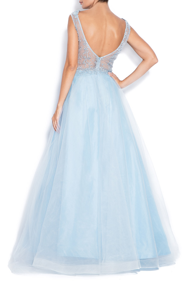 Open-back embroidered silk tulle gown Bien Savvy image 2