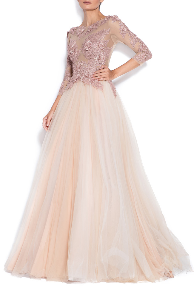 Athena embroidered silk tulle gown Bien Savvy image 1