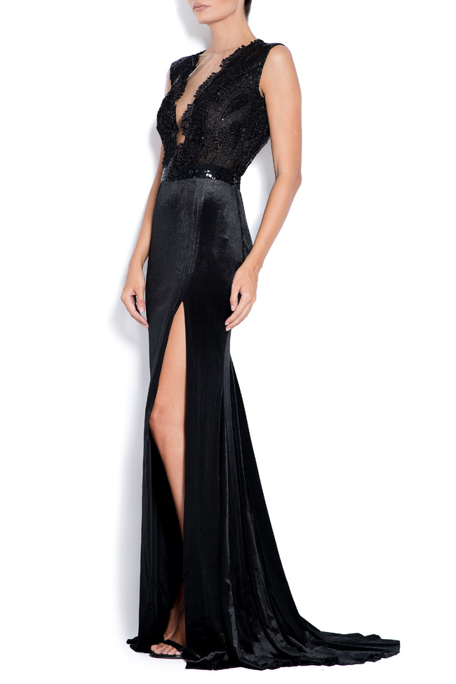 Adelaide lace-paneled velvet gown Bien Savvy image 1