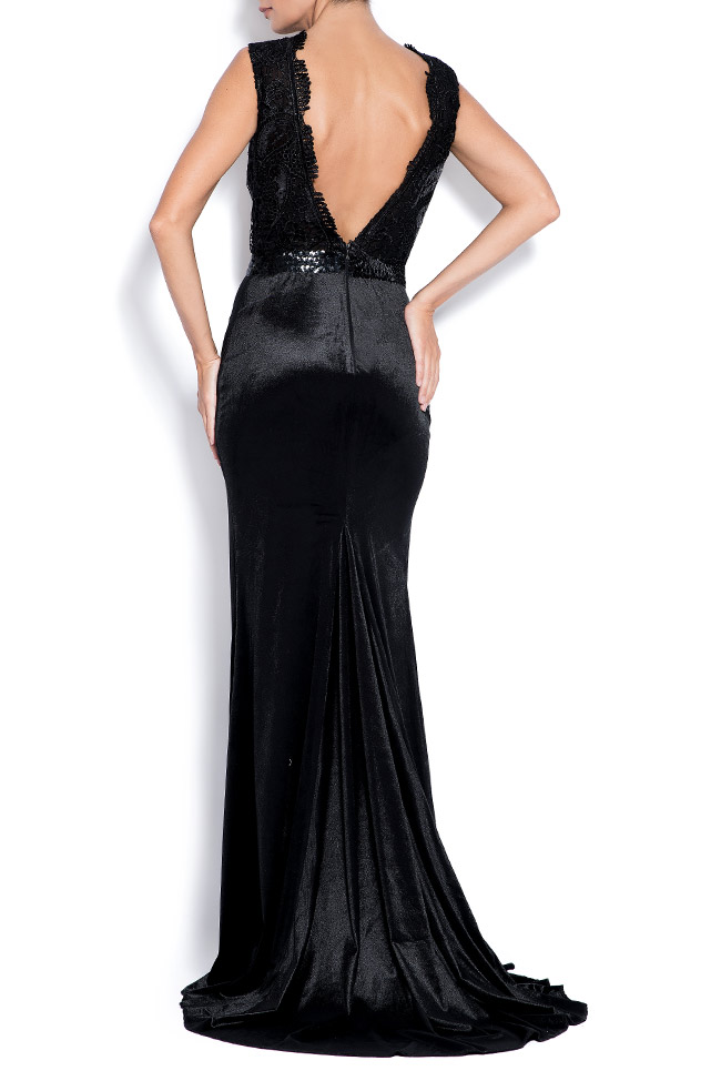 Adelaide lace-paneled velvet gown Bien Savvy image 2