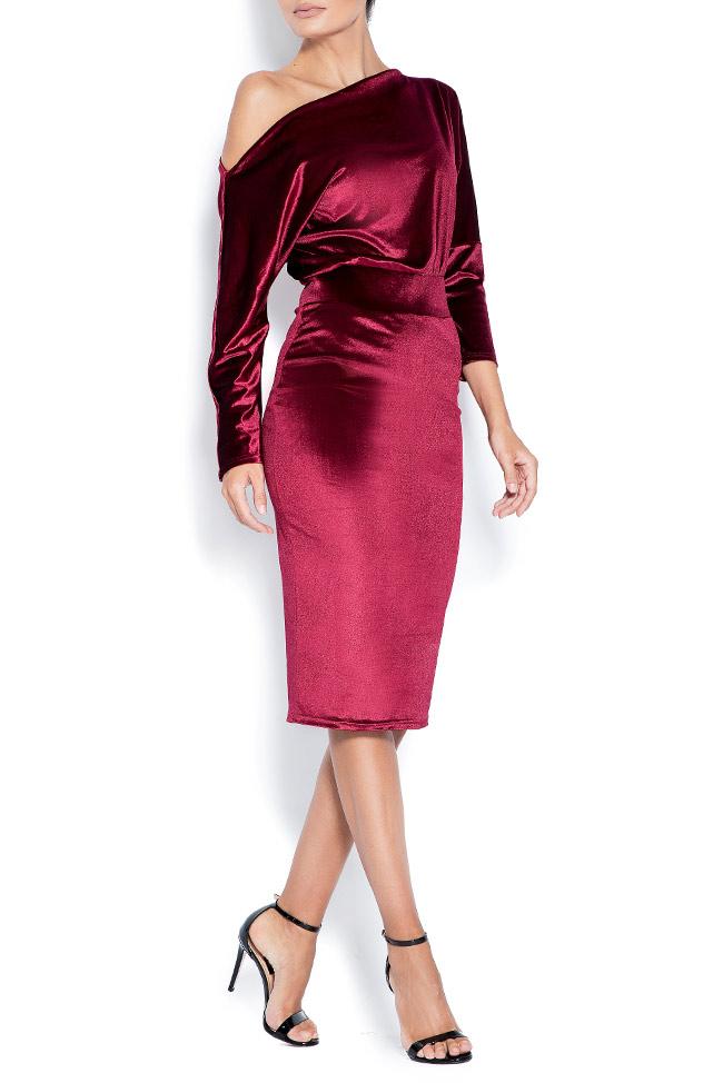 Adela one-shoulder stretch-velvet dress Love Love  image 1