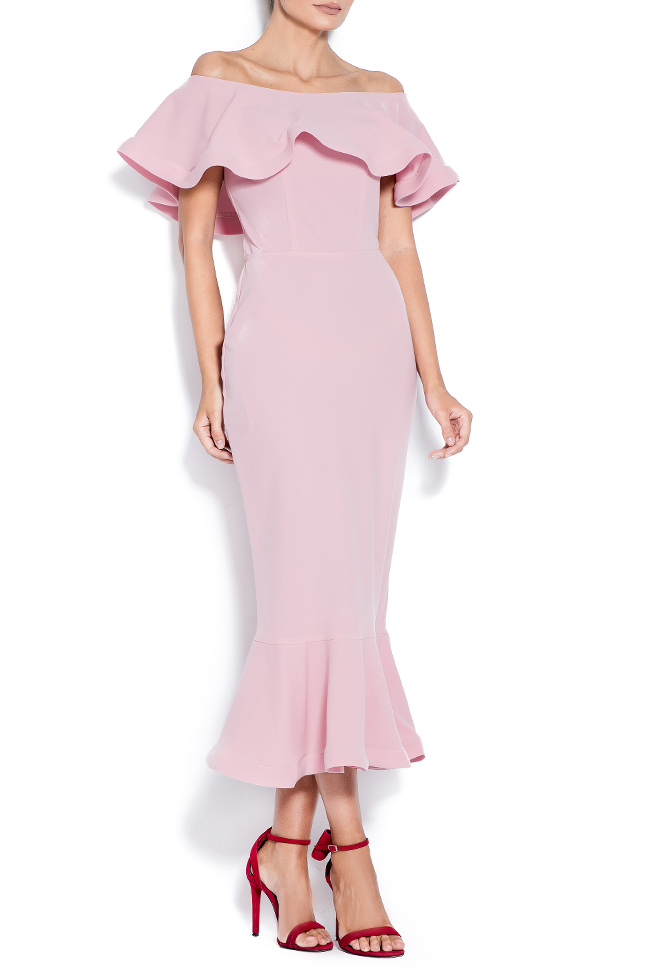 Alesia ruffled off-the-shoulder crepe  Love Love  image 0