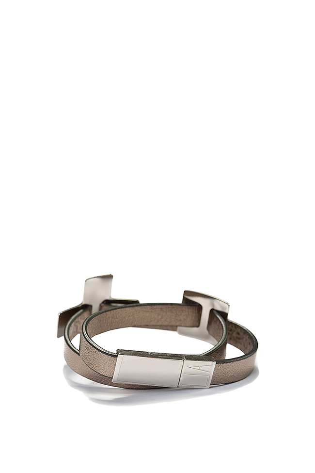 Palladium-plated wraparound leather bracelet LIA image 1