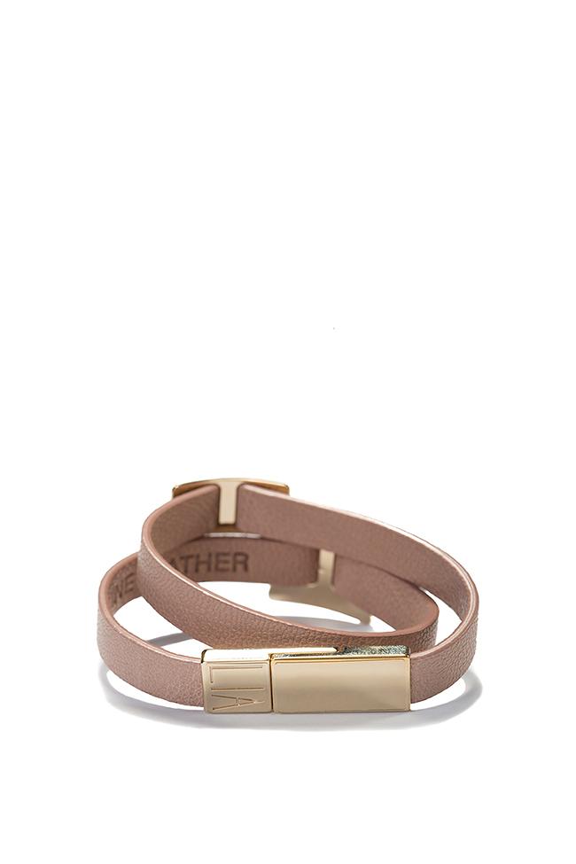 Bratara din piele cu accesoriu placat cu aur 24k Shapes of Joy LIA imagine 1