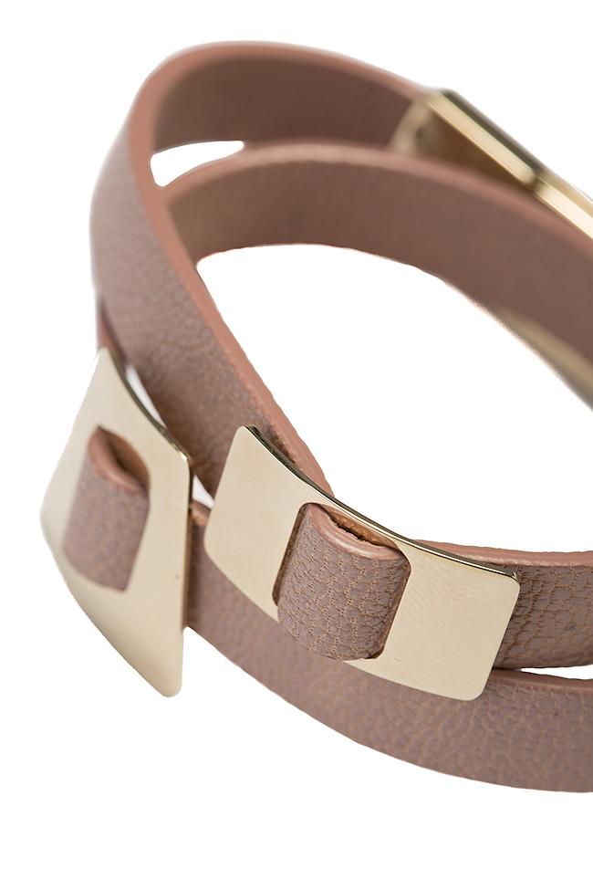 Bratara din piele cu accesoriu placat cu aur 24k Shapes of Joy LIA imagine 2