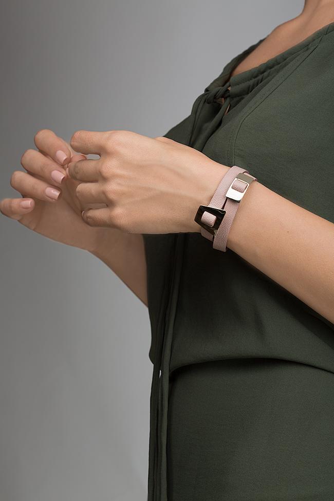 Bratara din piele cu accesoriu placat cu aur 24k Shapes of Joy LIA imagine 3
