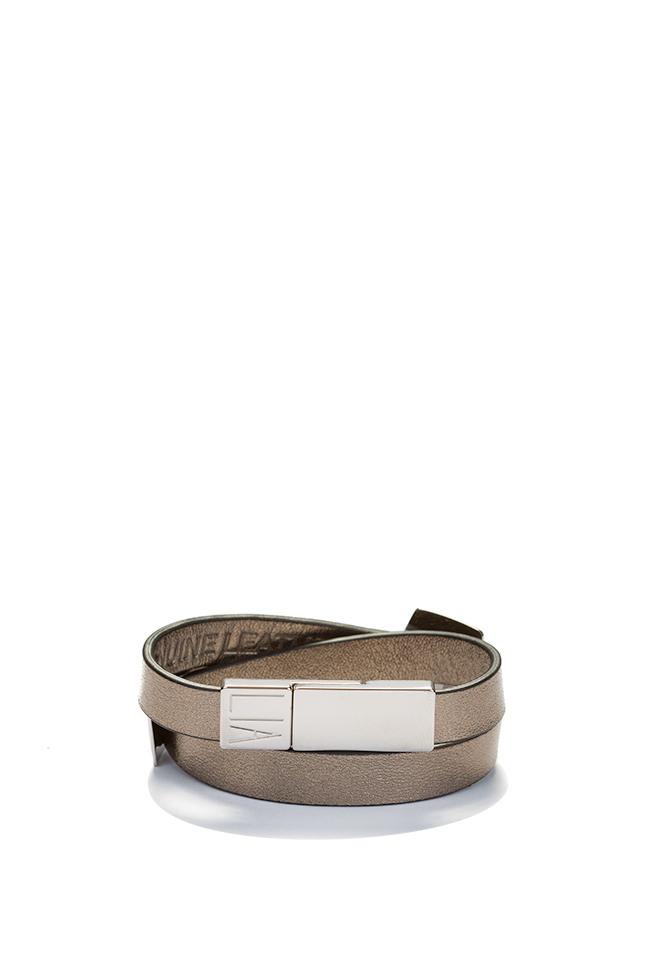 Bratara din piele cu accesoriu placat cu palladium Shapes of Joy LIA imagine 2