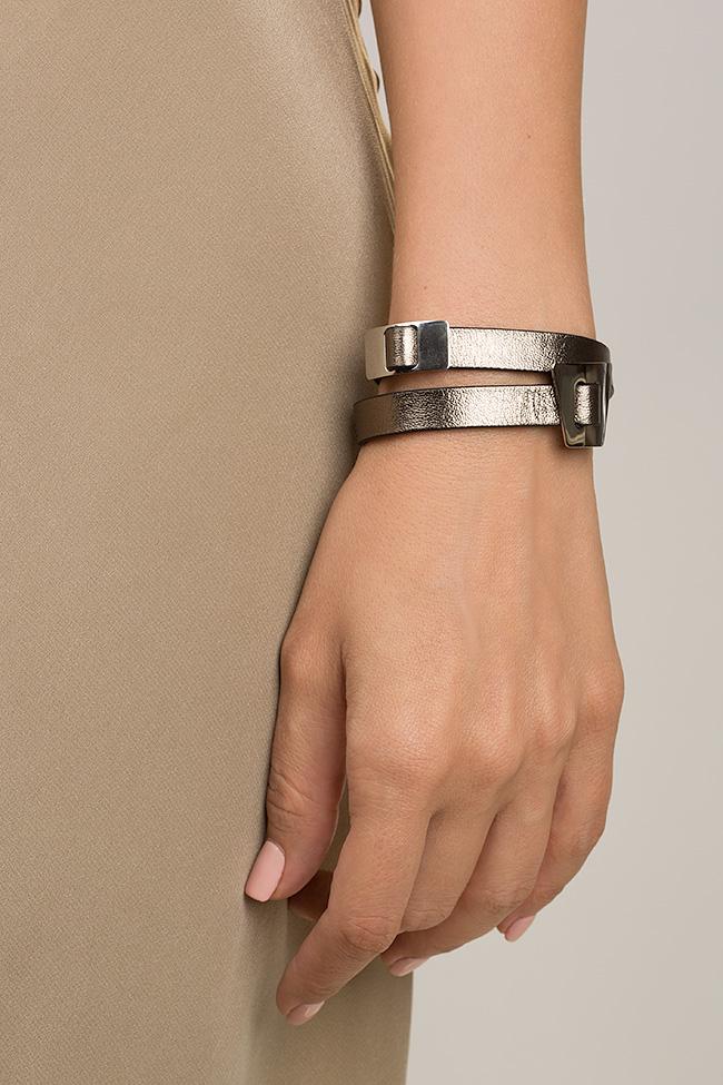 Bratara din piele cu accesoriu placat cu palladium Shapes of Joy LIA imagine 3