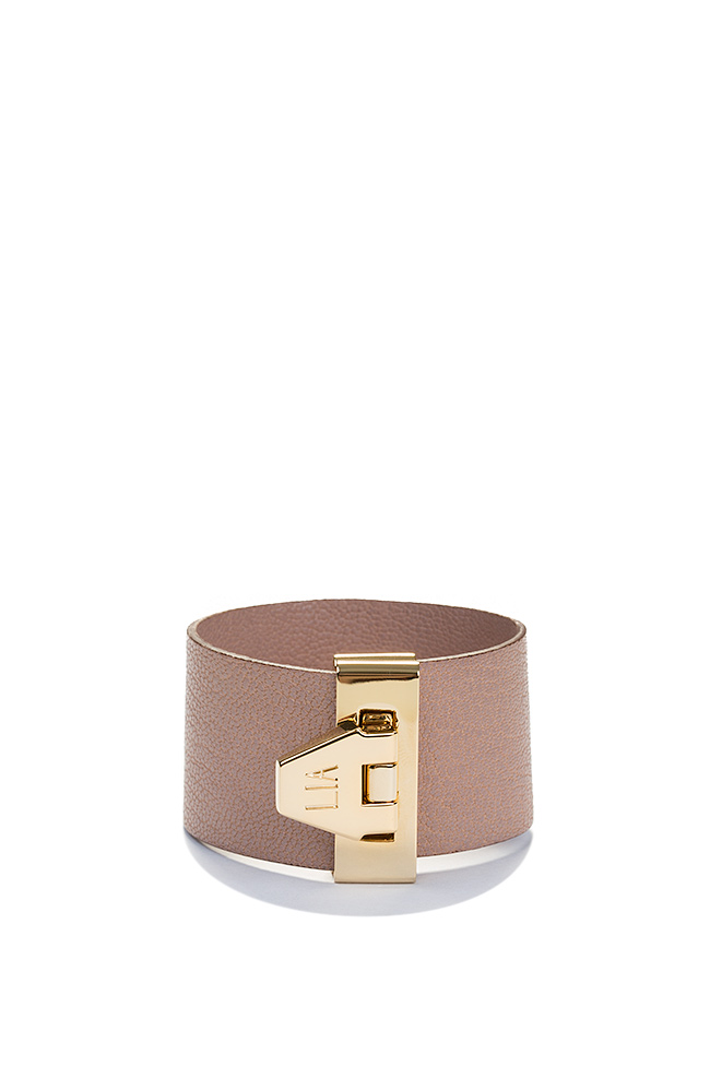 Carpe Noctem 24K Gold plated eco-brass leather cuff LIA image 0