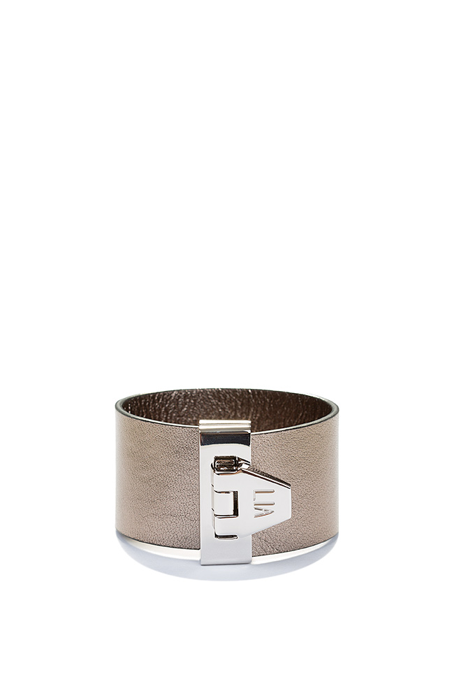 Palladium plated eco-brass leather cuff LIA image 0