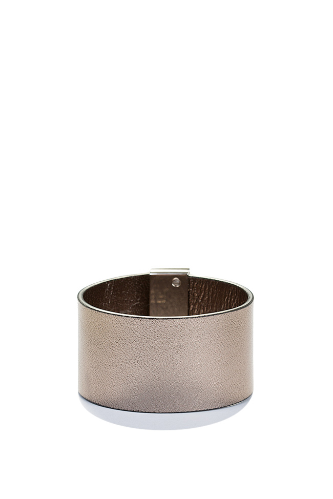 Palladium plated eco-brass leather cuff LIA image 1