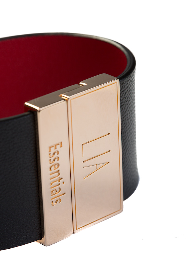 Essentials 24K Gold plated eco-brass leather cuff LIA image 2