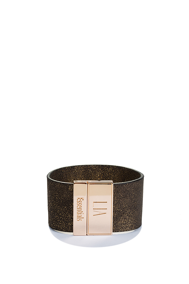 Essentials 24K Gold plated eco-brass leather cuff LIA image 0
