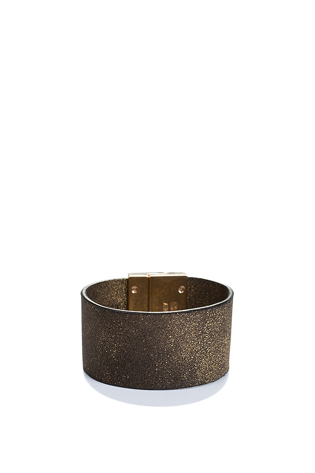 Essentials 24K Gold plated eco-brass leather cuff LIA image 1