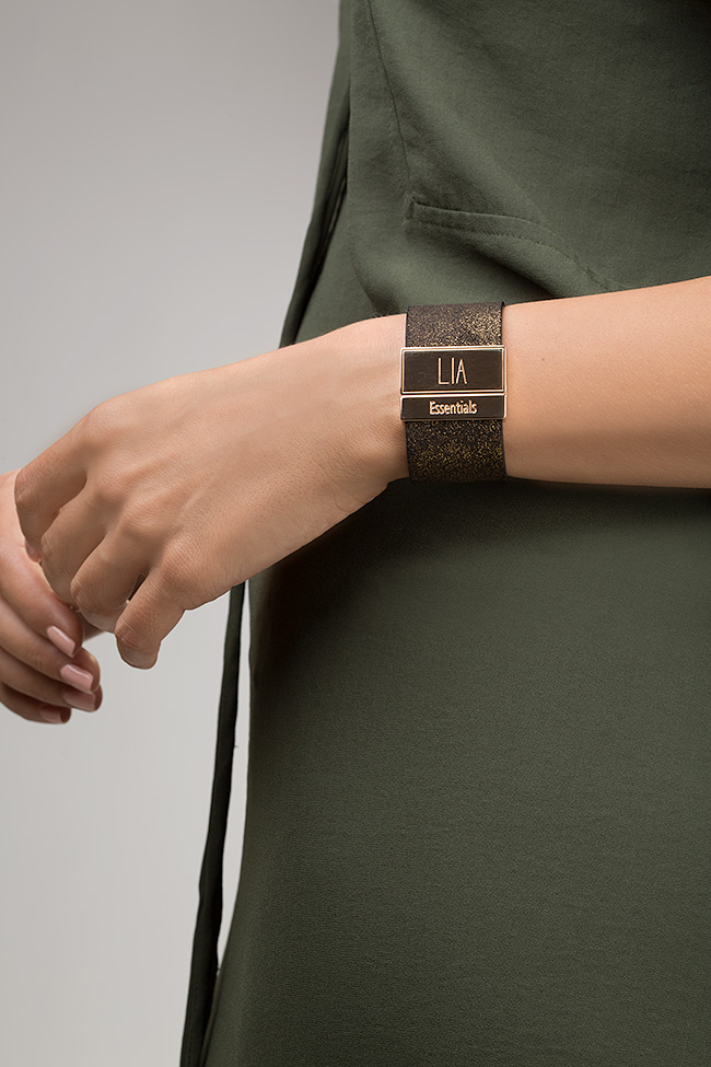 Essentials 24K Gold plated eco-brass leather cuff LIA image 3