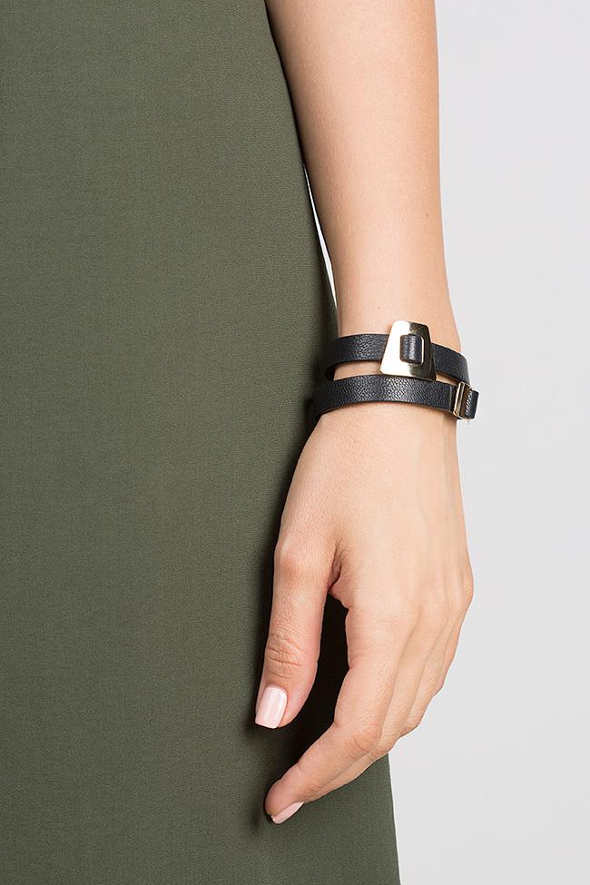 Shapes of Joy 24k Gold-plated charms wraparound leather bracelet LIA image 3