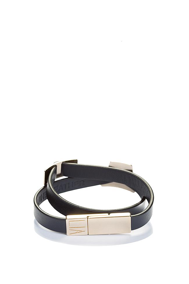 Shapes of Joy 24k Gold-plated charms wraparound leather bracelet LIA image 1