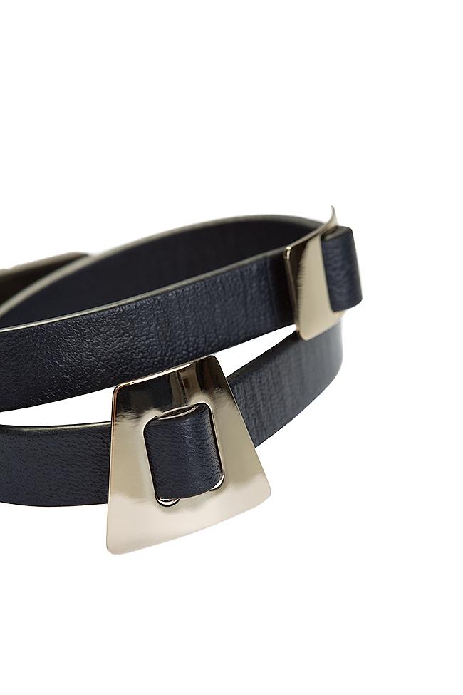 Shapes of Joy 24k Gold-plated charms wraparound leather bracelet LIA image 2