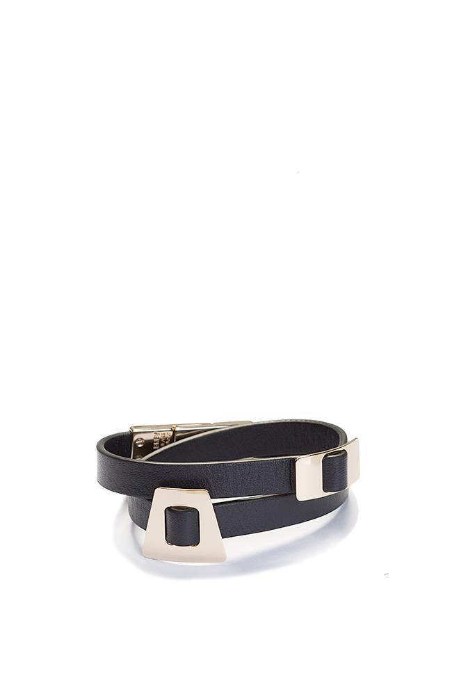 Shapes of Joy 24k Gold-plated charms wraparound leather bracelet LIA image 0