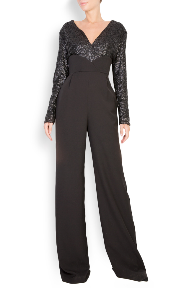 Sequined stretch-crepe jumpsuit Bluzat Cocktail image 0
