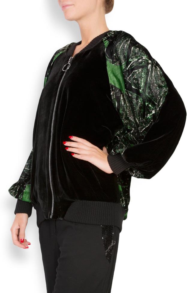 Jacheta din catifea de matase naturala imprimata Argo by Andreea Buga imagine 1