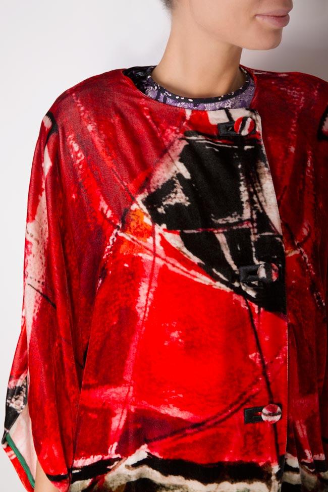 Palton din catifea de matase naturala imprimata Argo by Andreea Buga imagine 3
