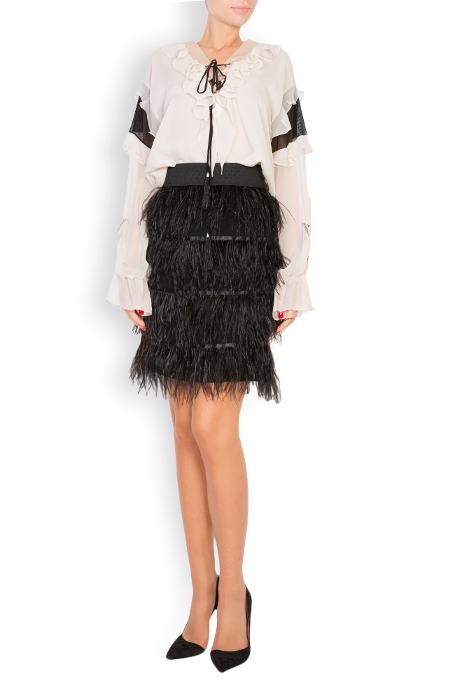 Feather-embellished mini skirt Elena Perseil image 0