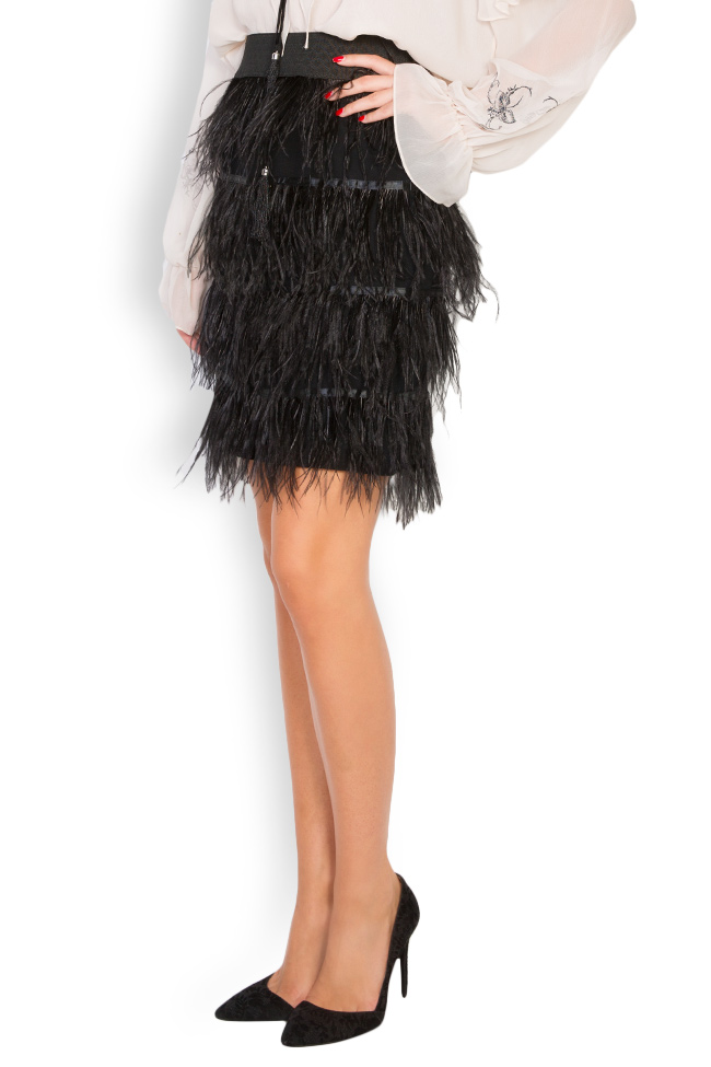 Feather-embellished mini skirt Elena Perseil image 2
