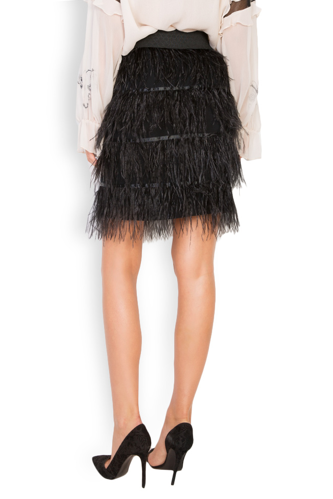 Feather-embellished mini skirt Elena Perseil image 1