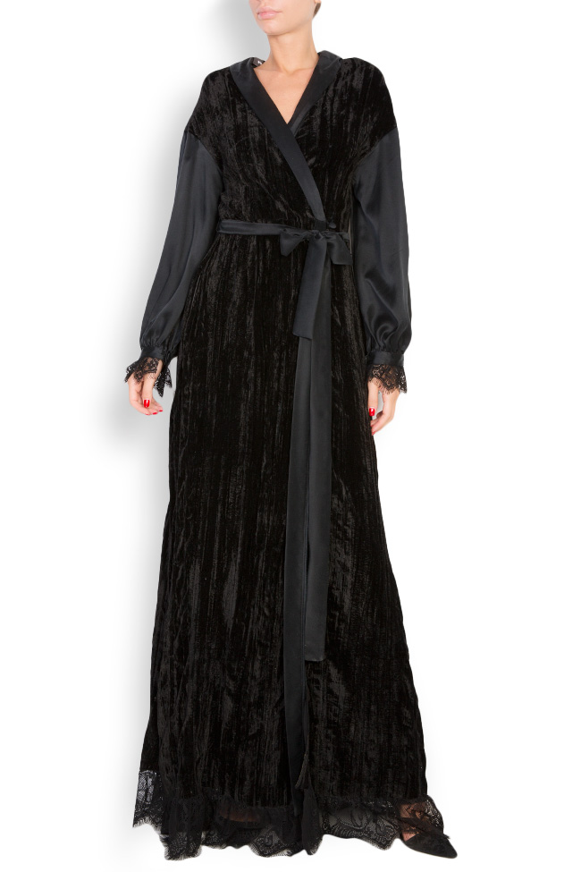 Lace-trimmed silk velvet maxi wrap dress Elena Perseil image 0
