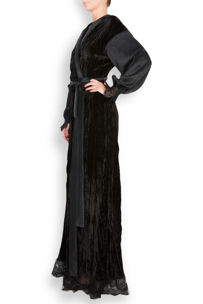 Lace-trimmed silk velvet maxi wrap dress Elena Perseil image 1