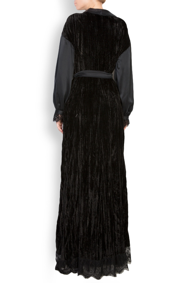 Lace-trimmed silk velvet maxi wrap dress Elena Perseil image 2