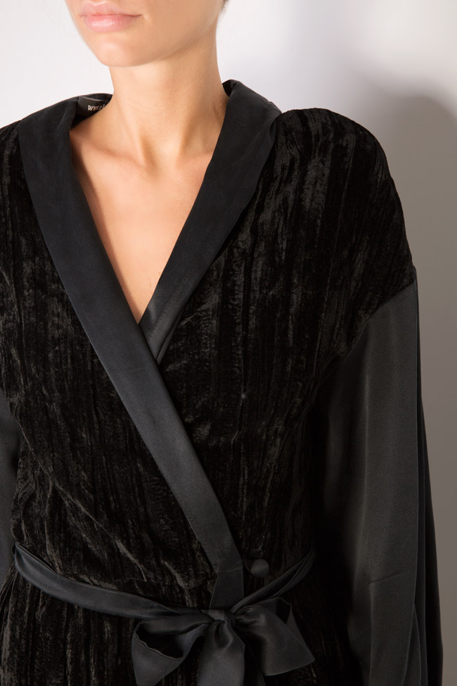 Lace-trimmed silk velvet maxi wrap dress Elena Perseil image 3