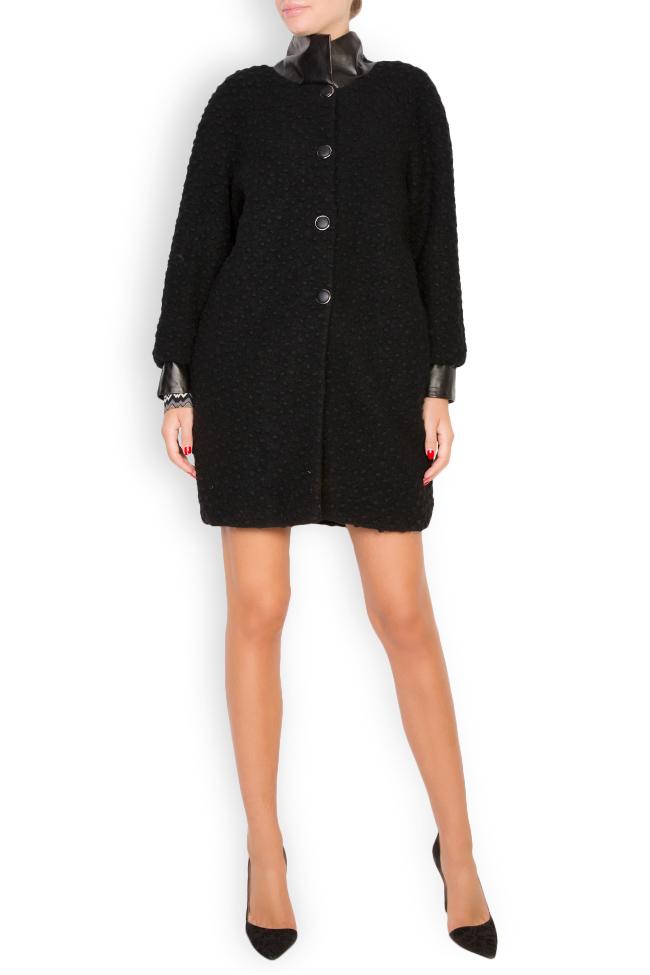 Manteau en laine avec col et manchettes en cuir Elena Perseil image 0