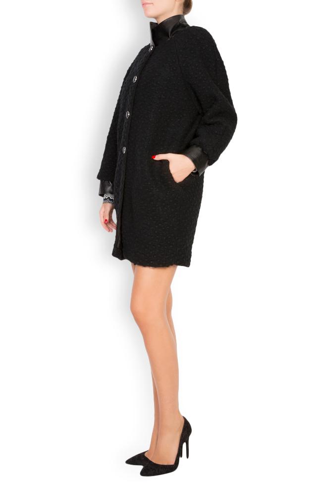 Manteau en laine avec col et manchettes en cuir Elena Perseil image 1