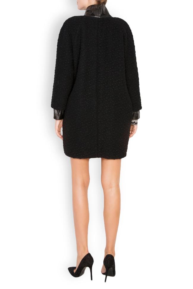 Manteau en laine avec col et manchettes en cuir Elena Perseil image 2