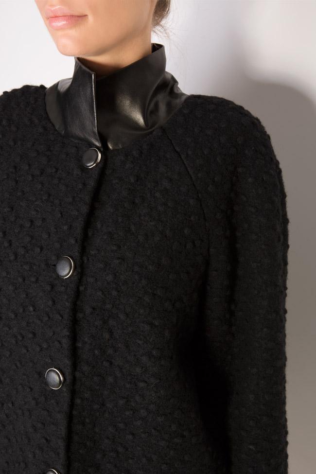 Manteau en laine avec col et manchettes en cuir Elena Perseil image 3