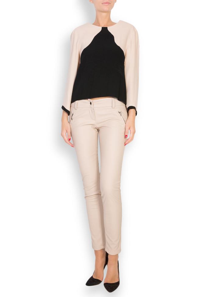 Bluza bicolora din viscoza Lena Criveanu imagine 0