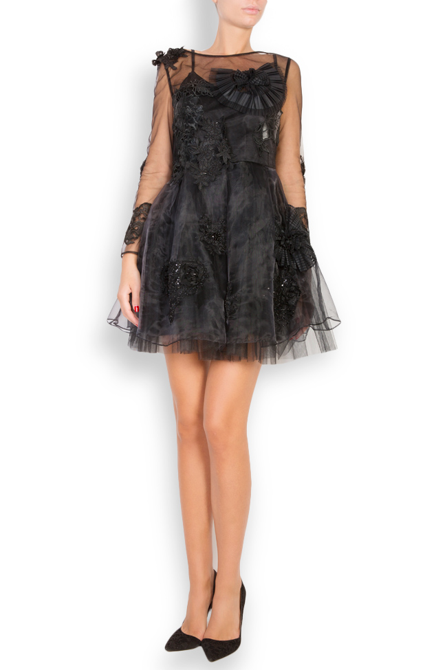 Embroidered taffeta tulle mini dress Elena Perseil image 0