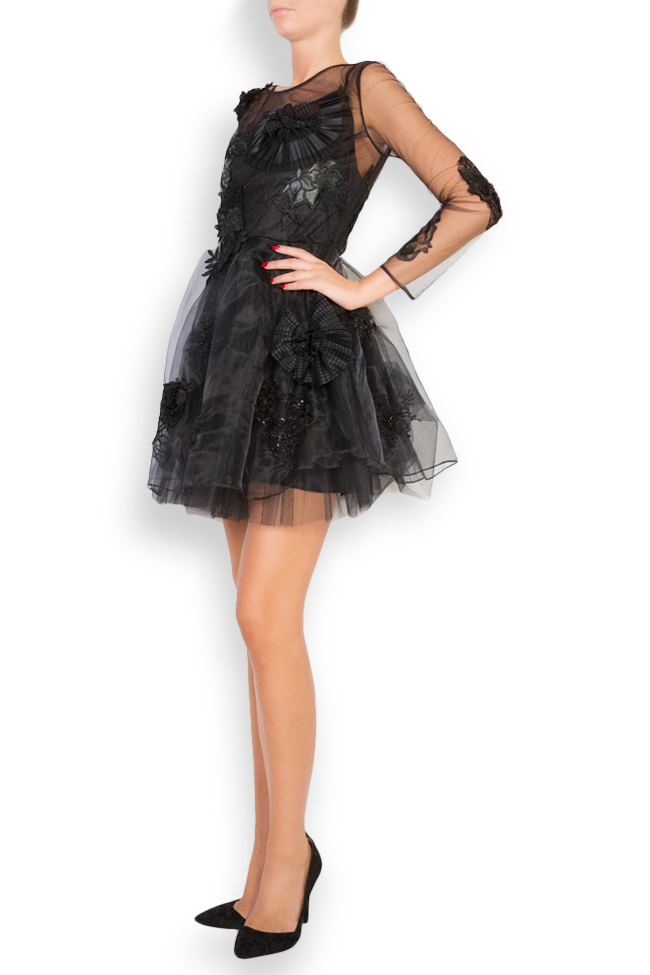 Embroidered taffeta tulle mini dress Elena Perseil image 1