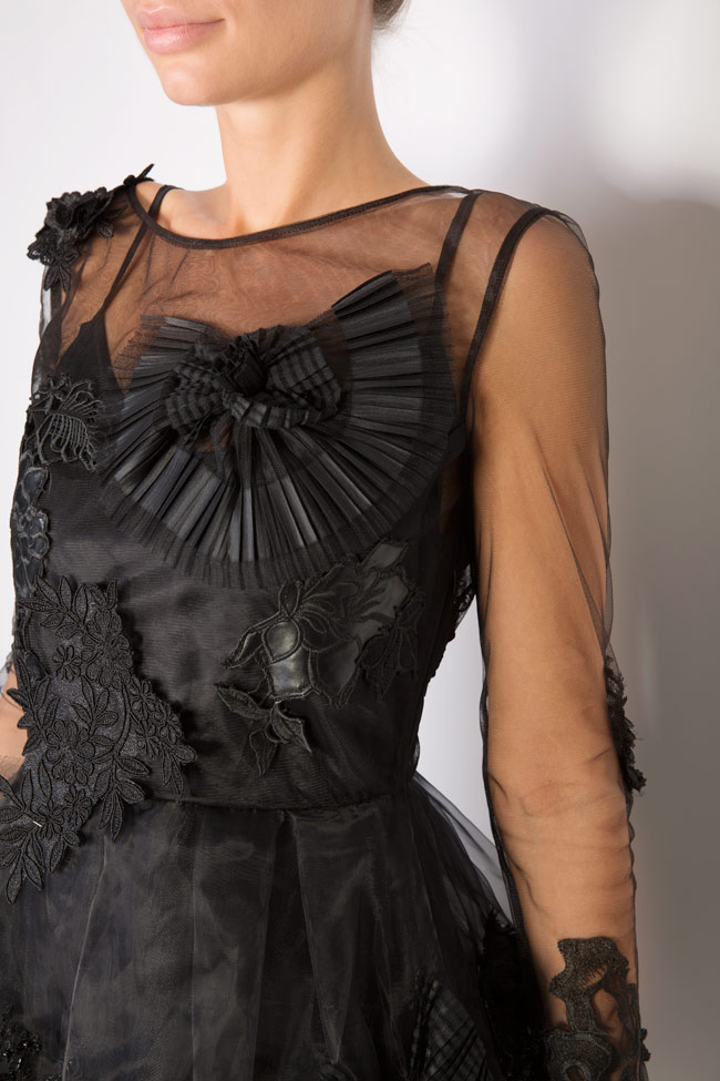 Embroidered taffeta tulle mini dress Elena Perseil image 3