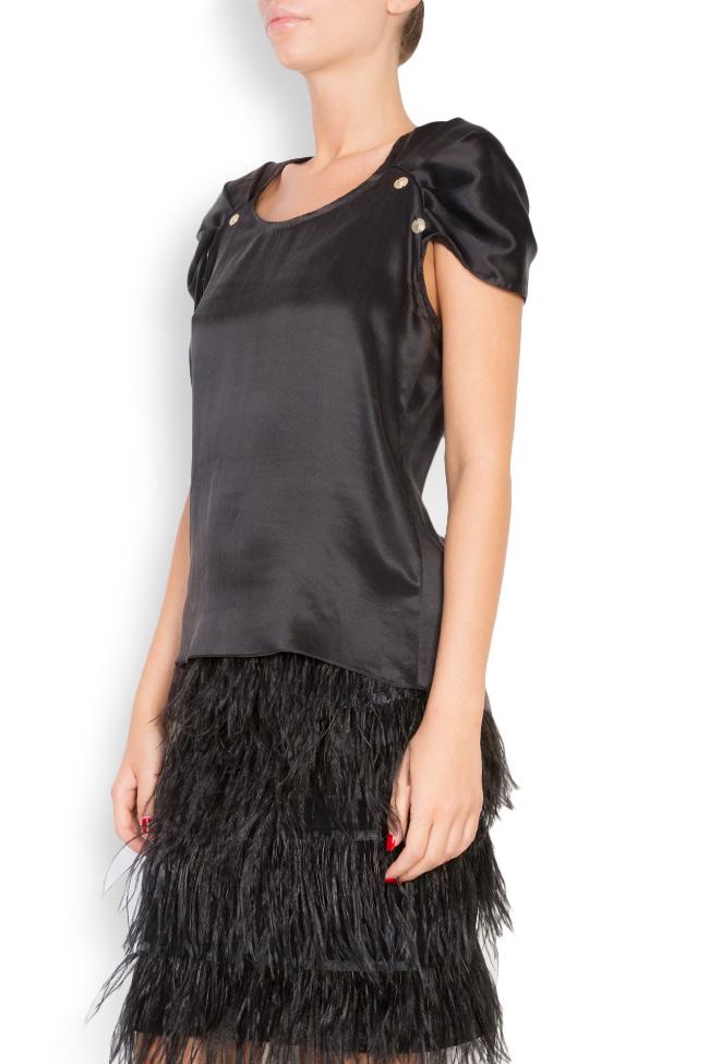 Embellished silk satin top Elena Perseil image 1