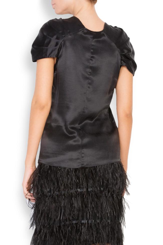 Embellished silk satin top Elena Perseil image 2